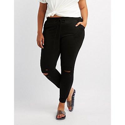 Plus Size Destroyed Drawstring Jogger Pants