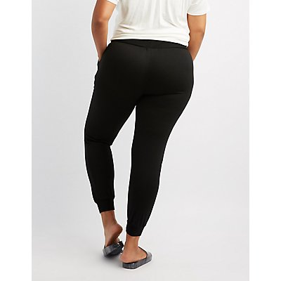 Plus Size Destroyed Drawstring Jogger Pants