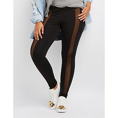 Plus Size Mesh-Trim Leggings