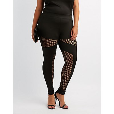 Plus Size Mesh Inset Leggings