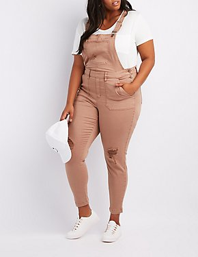 Plus Size Refuge Destroyed Denim Overalls