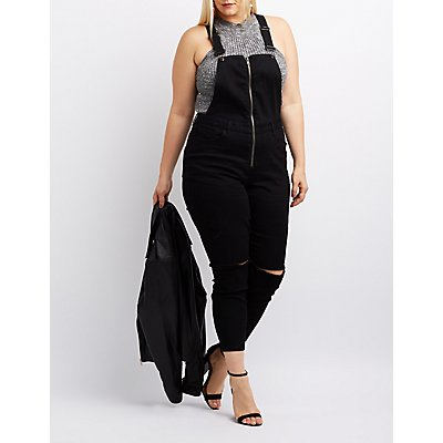 Plus Size Refuge Destroyed Denim Zip-Up Overalls