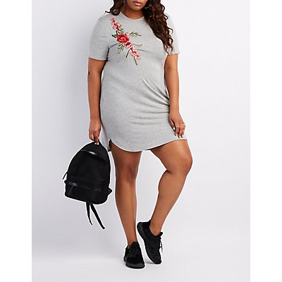 Plus Size Embroidered T-Shirt Dress