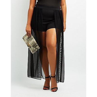 Plus Size Mesh Layered Maxi Shorts