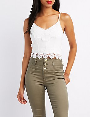 Crochet-Trim Zipper-Back Crop Top