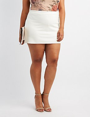 Plus Size Ponte Knit Mini Skort