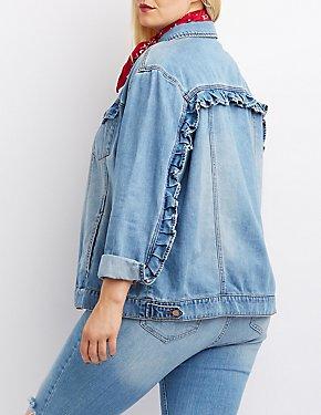 Plus Size Refuge Ruffle-Trim Denim Jacket