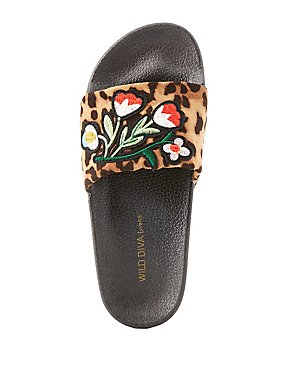 Patch Leopard Slide Sandals