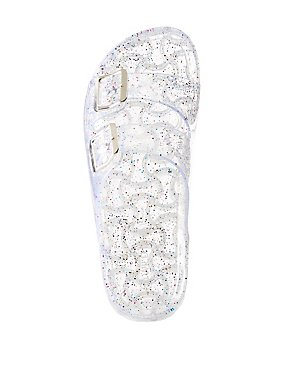 Glitter Jelly Buckled Slide Sandals