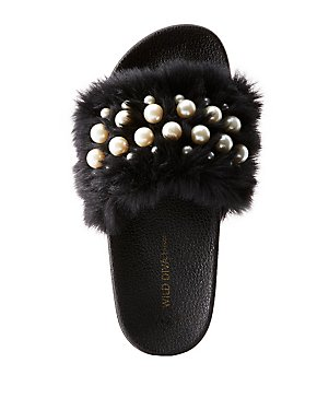 Faux Pearl & Faux Fur Slide Sandals