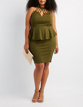 Plus Size Caged Mock Neck Peplum Dress