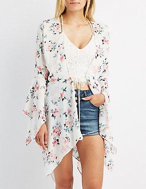 Floral Asymmetrical Tie-Front Kimono
