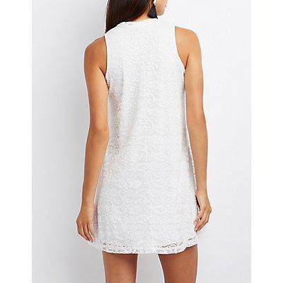 Lace Lattice-Front Shift Dress