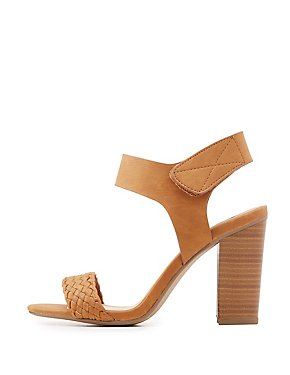 Braided Slingback Block Heel Sandals