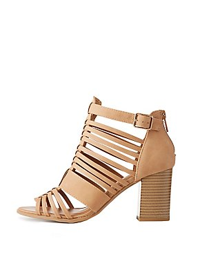 Qupid Strappy Caged Peep Toe Booties