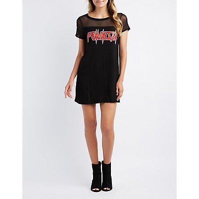 Feminista Mesh T-Shirt Dress