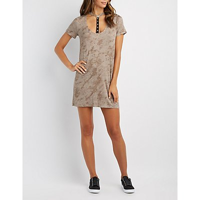 Grommet T-Strap T-Shirt Dress