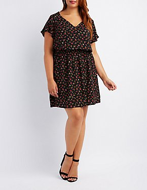 Plus Size Floral Keyhole Skater Dress