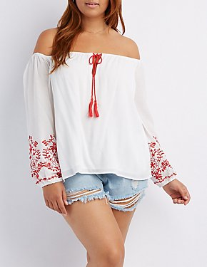 Plus Size Embroidered Sleeve Off-The-Shoulder Top
