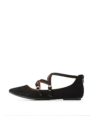 Strappy Pointed Toe Ballet Flats