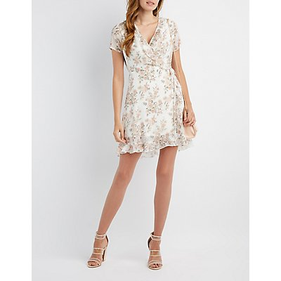 Floral Ruffle-Trim Wrap Dress