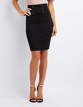 Corset-Detail Bodycon Skirt