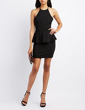 Lace-Back Peplum Dress
