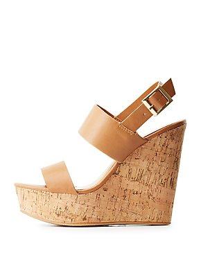 Bamboo Slingback Cork Wedge Sandals