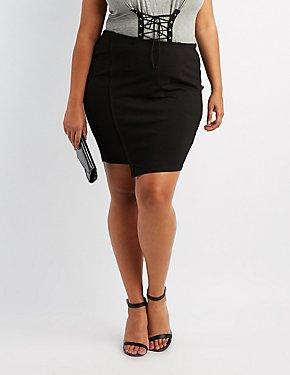 Plus Size Mini Asymmetrical Wrap Skirt