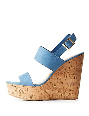 Bamboo Denim Cork Wedge Sandals