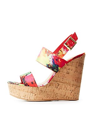 Bamboo Printed Cork Wedge Sandals