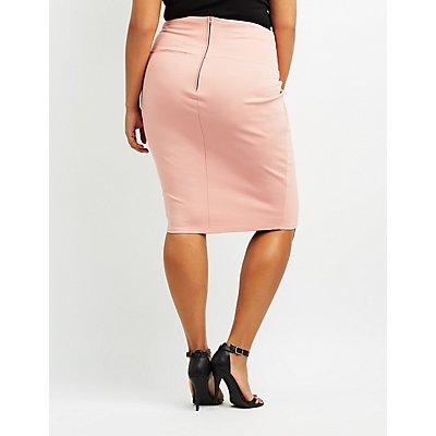 Plus Size Lace-Up Detail Pencil Skirt