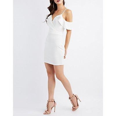 Surplice Cold Shoulder Bodycon Dress