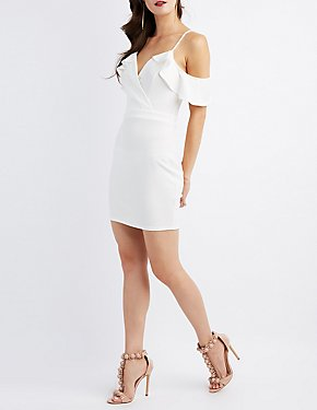 Surplice Cold Shoulder Bodycon Dress