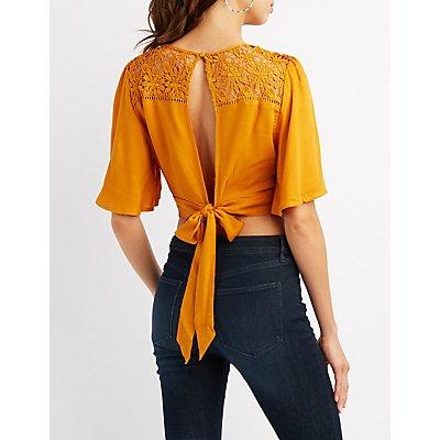 Crochet-Trim Surplice Crop Top