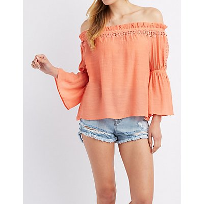 Crochet-Inset Off-The-Shoulder Top