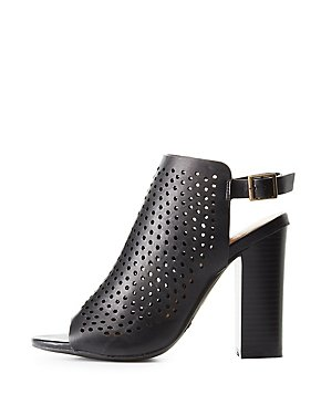 Bamboo Perforated Slingback Booties