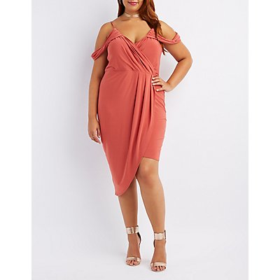 Plus Size Draped Cold Shoulder Bodycon Dress