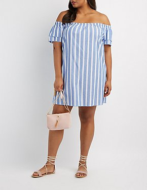 Plus Size Striped Off-The-Shoulder Dress