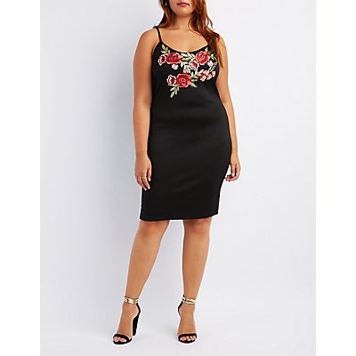 Plus Size Floral Embroidery Bodycon Dress