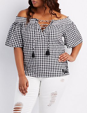 Plus Size Gingham Off-The-Shoulder Lace-Up Top