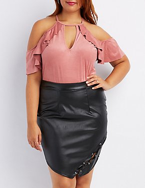 Plus Size Ruffle Faux Suede Cold Shoulder Bodysuit
