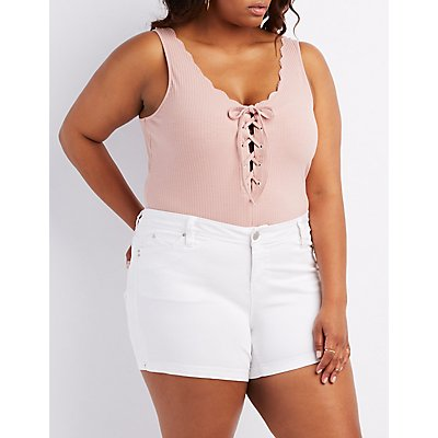 Ribbed Lace-Up Bodysuit