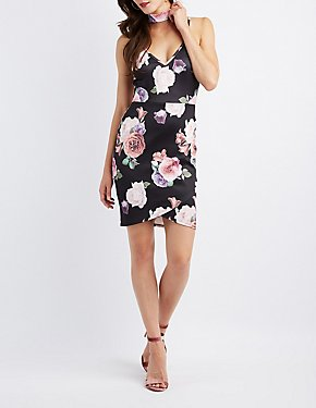 Floral Choker Neck Bodycon Dress