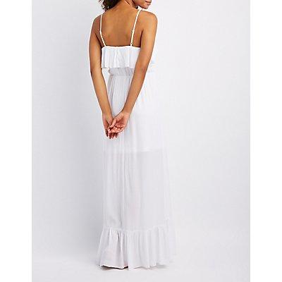 Ruffle-Trim Lace-Up Maxi Dress