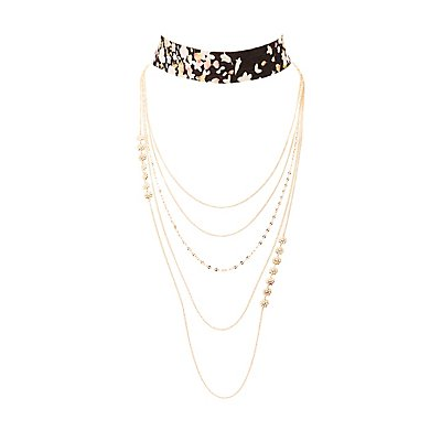 Floral Choker & Multistrand Necklaces - 2 Pack