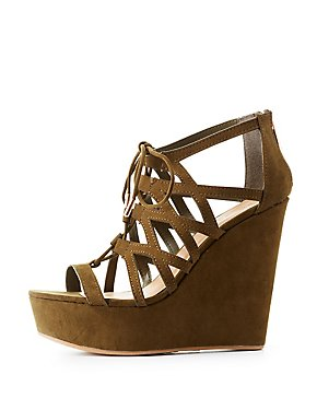Bamboo Caged Lace-Up Wedge Sandals