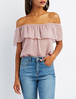 Swiss Dot Off-The-Shoulder Top