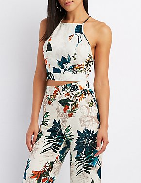 Floral Bib Neck Tie-Back Crop Top