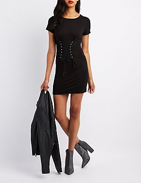 Corset-Detail T-Shirt Dress